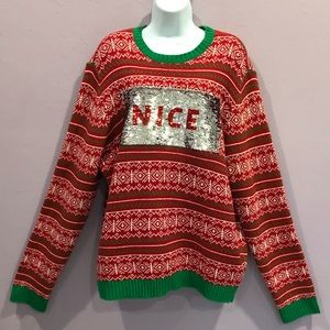 33DEGREES Vintage Red Green Christmas Sweater